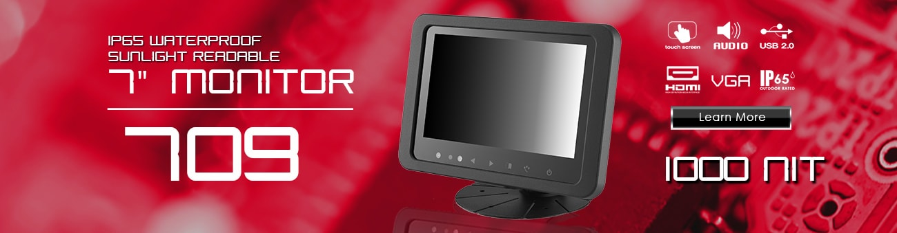 7 inch monitor, 7 inch touchscreen, small monitor, small touchscreen https://www.xenarc.com ruggedized solutions manufacturer for all industries  HDMI, VGA, DVI Video Inputs