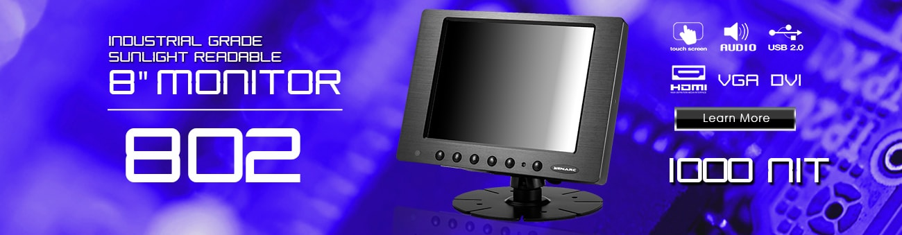 8 inch monitor, 8 inch touchscreen, small monitor, small touchscreen https://www.xenarc.com ruggedized solutions manufacturer for all industries  HDMI, VGA, DVI Video Inputs