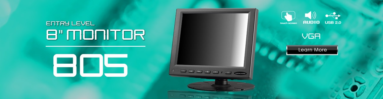 8 inch monitor, 8 inch touchscreen, small monitor, small touchscreen https://www.xenarc.com ruggedized solutions manufacturer for all industries  HDMI, VGA, DVI, SDI Video Inputs
